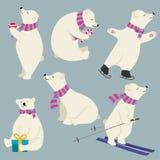 Cute flat design polare bears collection stock illustration