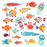 Cute flat fish. Funny cartoon character. Cute flat fish. A set of flat little animals for children`s ornament. Funny cartoon character. Vector illustration Stock Image