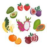 Cute flat illustration set of the whole and sliced fresh fruits. royalty free illustration