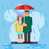 The cute flat loving couple in the rain Vector Illustration Royalty Free Stock Photo