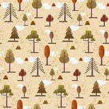 Cute flat orange autumn forest trees pattern. Cute flat orange and red autumn forest seamless pattern. Bright warm color nature texture with vector trees and Royalty Free Stock Photo