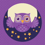 Cute flat owl icon. Valentine's Day card. Vector illustration. Stock Photo