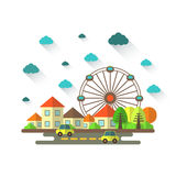 Cute flat style cityscape with houses Stock Image