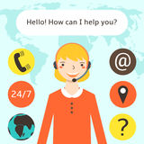 Cute flat style female call center operator. Royalty Free Stock Photography