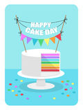 Cute flat style illustration of rainbow cake with festive bunting. For your decoration Stock Photos