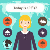 Cute flat style weather forecast background with pretty blonde woman Stock Photography