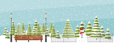 Cute flat vector winter background. Cute vector winter background. Snowfall, fir trees in different shapes and forms, lanterns, bench, snowman. Winter park Royalty Free Stock Photography