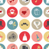 Cute flat wedding icons in modern seamless pattern Royalty Free Stock Image