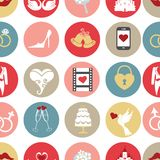 Cute flat wedding icons in seamless pattern Stock Photo
