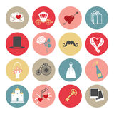 Cute Flat wedding icons set for web and mobile Royalty Free Stock Photos