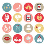 Cute flat wedding icons set for web , mobile Stock Photos