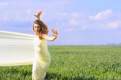 Cute flexible young woman Royalty Free Stock Photography