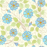 Cute floral  background. Seamless floral  background with blue flowers Royalty Free Stock Photos