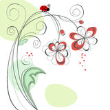 Cute floral background. With ladybug Royalty Free Stock Photos