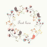 Cute floral background. With birds and flowers in cartoon style Stock Images
