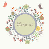 Cute floral background. With birds and flowers in cartoon style Stock Photo