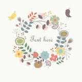 Cute floral background. With birds and flowers in cartoon style Stock Photography