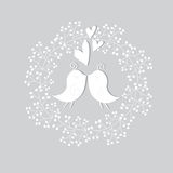Cute floral background with birds. Romantic floral background with white birds and flowers Royalty Free Stock Photography
