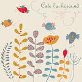 Cute floral background with birds Royalty Free Stock Photography