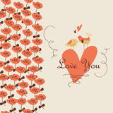 Cute floral background with birds. Cute floral background with tender birds and flowers in cartoon style. Valentine card. Wedding invitation Royalty Free Stock Photos
