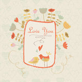 Cute floral background with birds. Cute floral background with tender birds and flowers in cartoon style. Valentine card. Wedding invitation Stock Photo