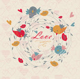 Cute floral background with birds. Cute floral background with tender birds, heart and flower in cartoon style. Valentine card. Wedding invitation Stock Image