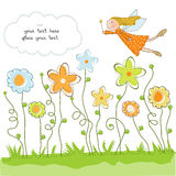 Cute floral background with fairy. In  format Royalty Free Stock Image