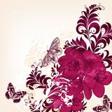 Cute floral background with hand drawn flowers Stock Image