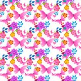 Cute Floral Background With Pink Butterfly Seamless Pattern Spring Flower Ornament. Vector Illustration Royalty Free Stock Photography