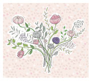 Cute floral background. Printable wall art with flowers. Vector Stock Photography