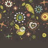 Cute Floral Background With Birds Royalty Free Stock Images