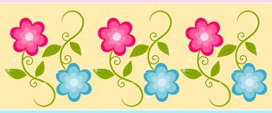 Cute floral border. Abstract illustration of the floral border with pink and blue flowers with sparkles Royalty Free Stock Image