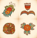 Cute floral collection. Set with different stylish flowers royalty free illustration