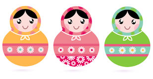 Cute floral colorful Matryoshka set Royalty Free Stock Image