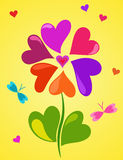 Cute floral composition of colorful hearts. On yellow background Royalty Free Stock Image