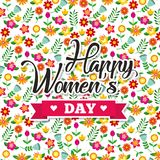 Cute floral decoration flowers happy womens day background. Vector illustration Stock Images