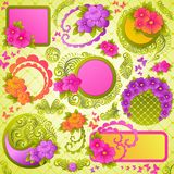 Cute floral design elements. royalty free stock photos