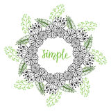 Cute floral frame. Doodle flowers pattern in vector. Creative floral background for packaging or book design. Royalty Free Stock Photos