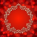 Cute Floral frame on red background Royalty Free Stock Photos