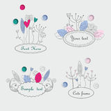 Cute floral frames Royalty Free Stock Photography
