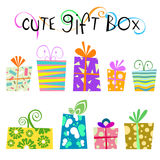 Cute floral gift box vector Royalty Free Stock Image