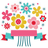 Cute floral greeting card. Cute greeting card template with bright colored retro flower posy and ribbon banner