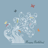 Cute floral happy birthday card Stock Photo