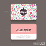 Cute Floral Pattern Business Card Name Card Design Royalty Free Stock Photo