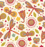 Cute floral pattern with flowers, dragonflies and butterflies. Ornate fabric seamless texture. Doodle childish lace background Stock Photos