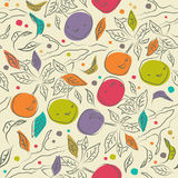 Cute floral pattern with orange branches. Decorative ornate seamless background Stock Photo