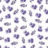 Cute Floral pattern of violet small flowers and leaves.Seamless hand watercolor illustration.Elegant template for fashion prints.  vector illustration