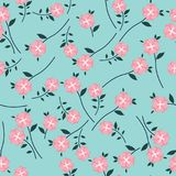 Cute Floral pattern in the small flower. Seamless vector pink background Stock Photography
