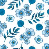 Cute Floral pattern of a small flowers,leaves and branches in blue color. Seamless hand watercolor texture. Elegant template for royalty free illustration