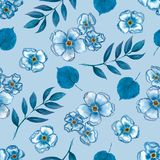 Cute Floral pattern of a small flowers,leaves and branches in blue color. Seamless hand watercolor texture. Elegant template for stock illustration